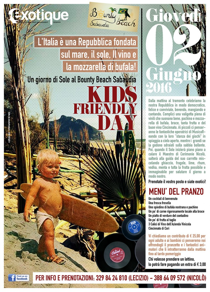 Un giorno di Sole al Bounty Beach Sabaudia_ 2 Giugno_Kids Friendly Day