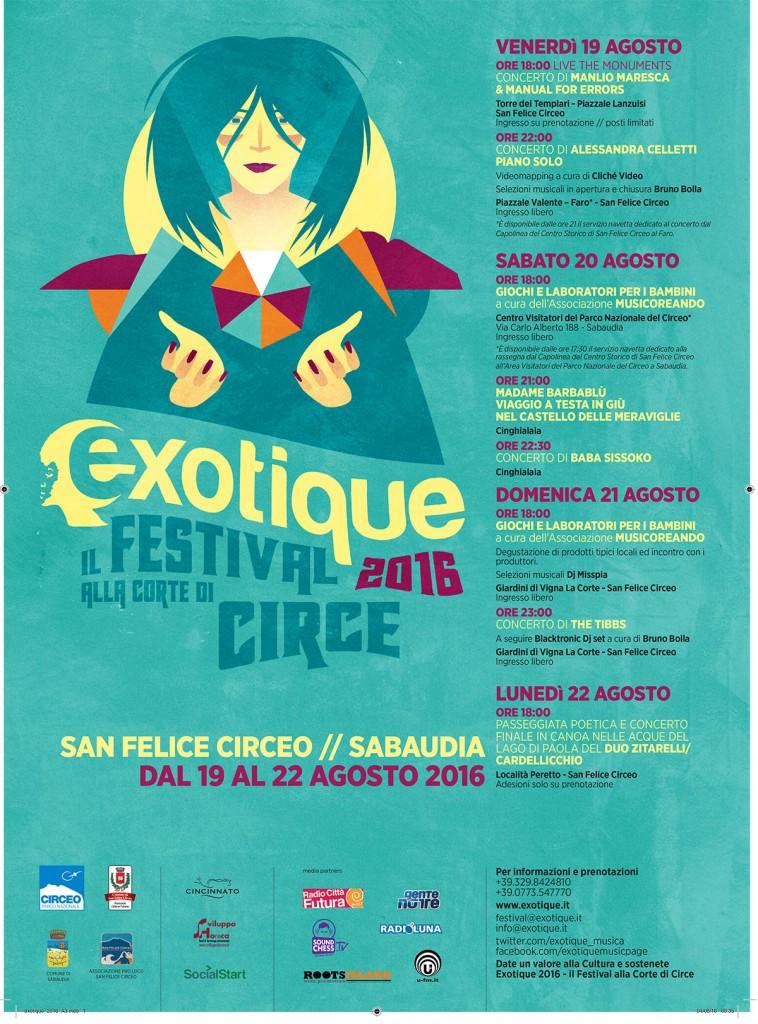 Exotique 2016 – Il Festival alla Corte di Circe – dal 19 al 22 Agosto a S.F.Circeo e Sabaudia