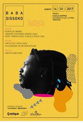 Baba Sissoko in concerto a Terracina al Casale Rappini il 14 Gennaio 2017