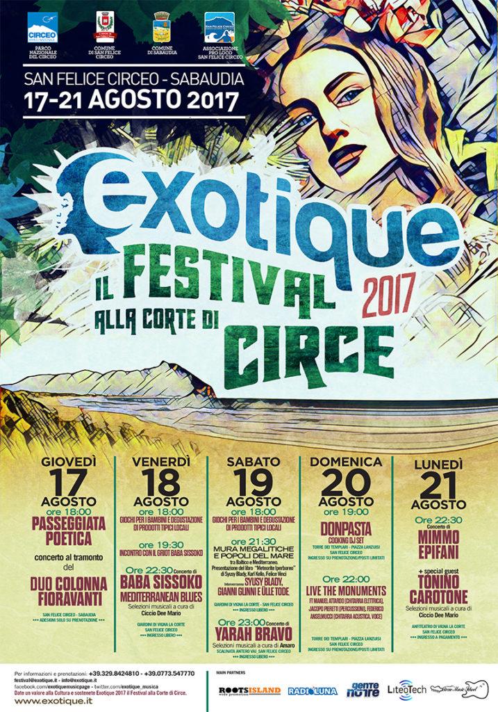 EXOTIQUE 2017 – IL FESTIVAL ALLA CORTE DI CIRCE – SAN FELICE CIRCEO // SABAUDIA 17-21 AGOSTO