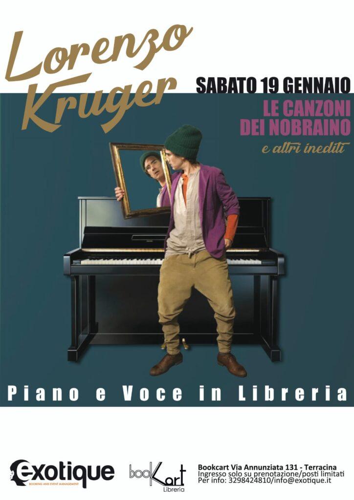Lorenzo Kruger piano e voce in Libreria da Bookart a Terracina il 19 gennaio